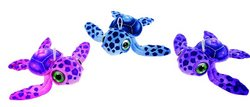 "Case of [24] 12"" Big Eyes Sea Turtle Plush Toy - Assorted Colors"