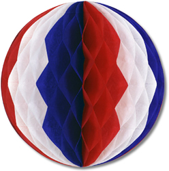 Case of [12] Packaged Tissue Ball - Red, White, Blue