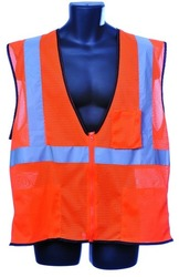 Case of [10] Class II Zipper Front Orange Safety Vest Small