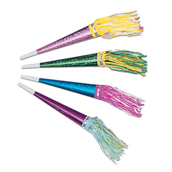 Case of [100] Foil Horns with Tassel - Assorted Colors #10168
