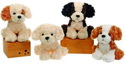 "Case of [24] 10"" Sitting Dog Plush Toy - Assorted Styles"