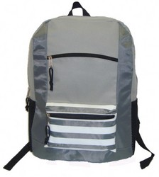 """Case of [40] 18"""" Classic Striped Front Backpack - Grey"""