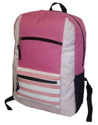 """Case of [40] 18"""" Classic Striped Front Backpack - Pink"""