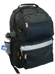 "Case of [12] 19"" Premium Multi-Pocket Backpack with Bottle - Black"