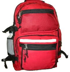 """Case of [12] 19"""" Premium Multi-Pocket Backpack with Bottle - Red"""