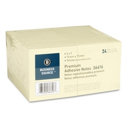 """Case of [4] Business Source Adhesive Notes, 100 Sheets, 3""""x3"""", 24/PK, Yellow"""