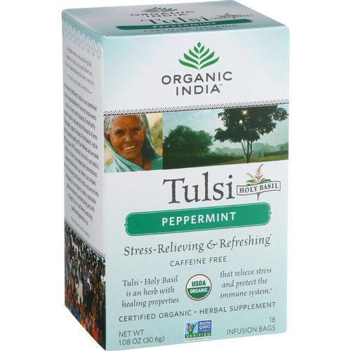 Organic India Organic Tulsi Tea - Peppermint - 18 Tea Bags - Case of 10