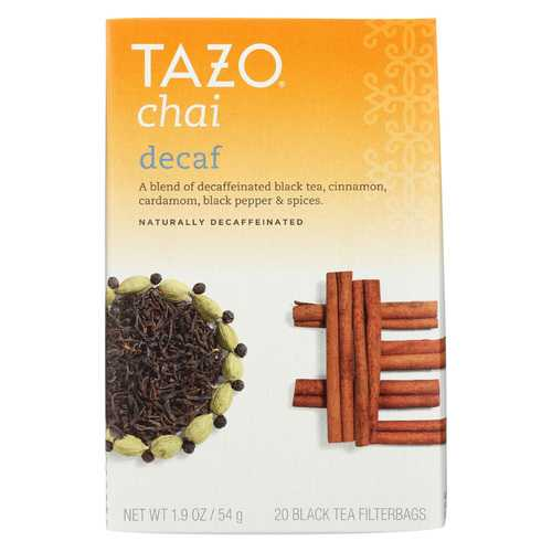 Tazo Tea Spiced Black Tea - Decaffeinated Tazo Chai - Case of 6 - 20 BAG