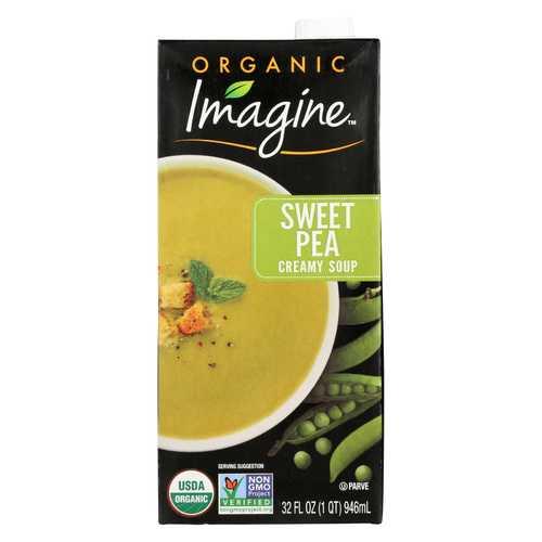 Imagine Foods Creamy Sweet Pea Soup - Organic - Case of 12 - 32 oz.