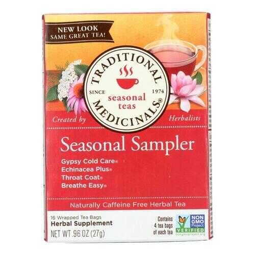 Traditional Medicinals Seasonal Herb Tea Sampler - 16 Tea Bags - Case of 6