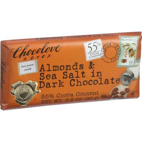 Chocolove Xoxox Premium Chocolate Bar - Dark Chocolate - Almonds and Sea Salt - 3.2 oz Bars - Case of 12
