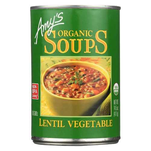 Amy's Organic Lentil Vegetable Soup - Case of 12 - 14.5 oz