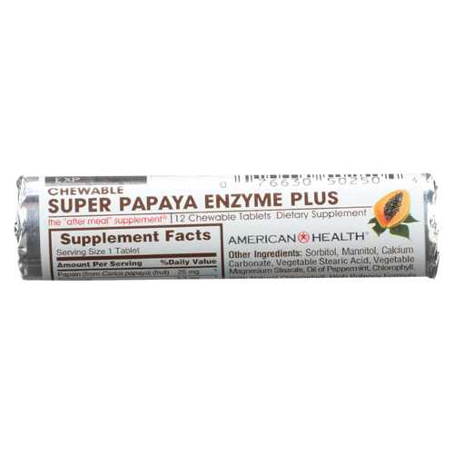 American Health Super Papaya Enzyme Roll - Case of 16 - 12 TAB