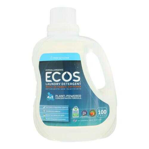 Earth Friendly Ecos Ultra 2x All Natural Laundry Detergent - Free and Clear - Case of 4 - 100 fl oz