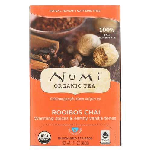 Numi Tea Organic Herbal Tea - Rooibos Chai - Case of 6 - 18 Bags