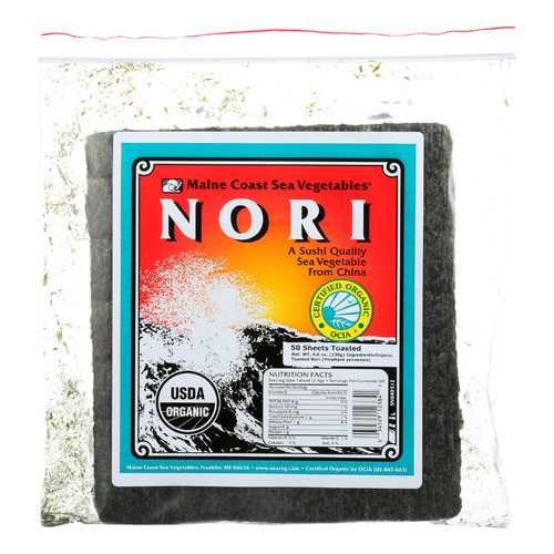 Maine Coast Organic Sea Vegetables - Sushi Nori Sheets - Toasted Chinese - 50 Sheets
