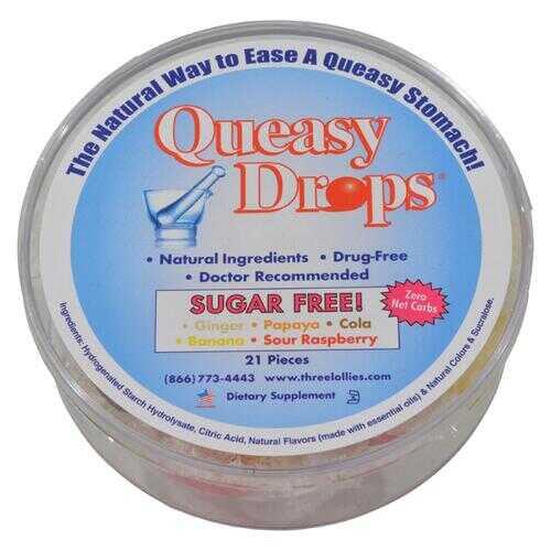 Three Lollies Queasy Drops Ginger Papaya Cola Banana Sour Raspberry - 21 Pieces