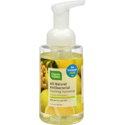 CleanWell All-Natural Antibacterial Foaming Hand Wash Bergamot Ginger - 9.5 fl oz