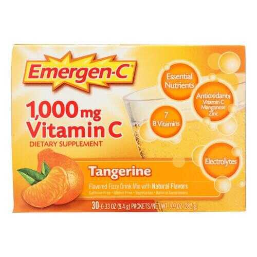 Alacer - Emergen-C Vitamin C Fizzy Drink Mix Tangerine - 1000 mg - 30 Packets