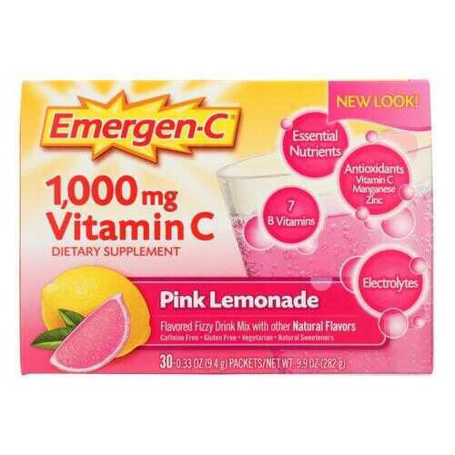 Alacer - Emergen-C Vitamin C Fizzy Drink Mix Pink Lemonade - 1000 mg - 30 Packets