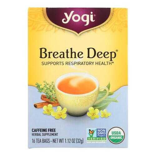 Yogi Organic Breathe Deep Herbal Tea Caffeine Free - 16 Tea Bags - Case of 6