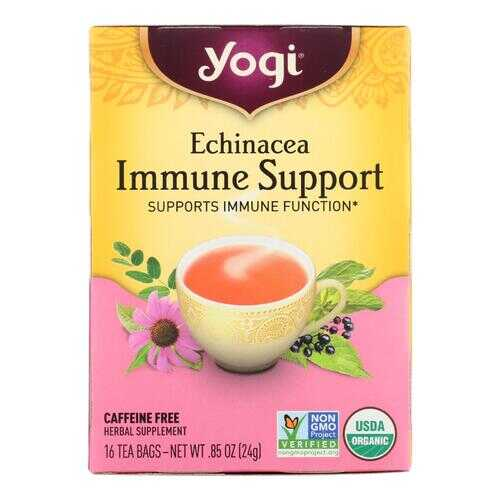 Yogi Immune Support Herbal Tea Echinacea - 16 Tea Bags - Case of 6