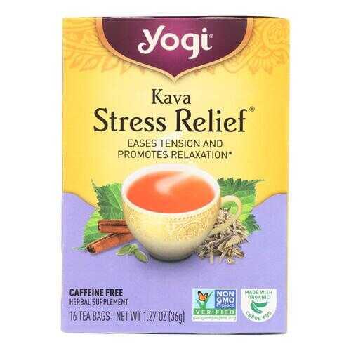 Yogi Kava Stress Relief Herbal Tea Caffeine Free - 16 Bag - Case of 6