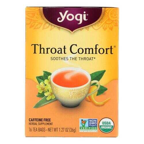 Yogi Organic Throat Comfort Herbal Tea Caffeine Free - 16 Tea Bags - Case of 6