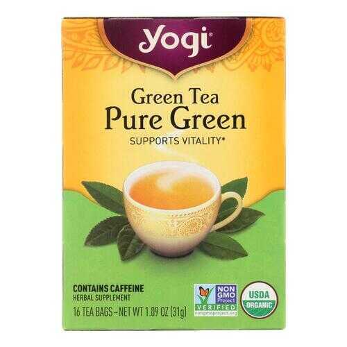 Yogi Organic Pure Green Herbal Tea - 16 Tea Bags - Case of 6