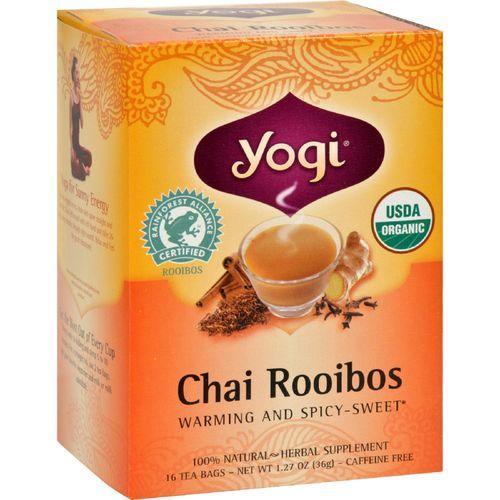 Yogi Organic Herbal Tea Caffeine Free Chai Rooibos - 16 Tea Bags - Case of 6