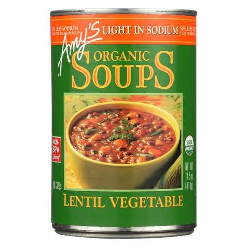 Amy's Organic Lentil Vegetable Soup - Low Sodium - Case of 12 - 14.5 oz