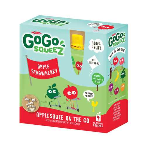 GoGo Squeeze Organic Applesauce - Apple Strawberry - Case of 12 - 3.2 oz.