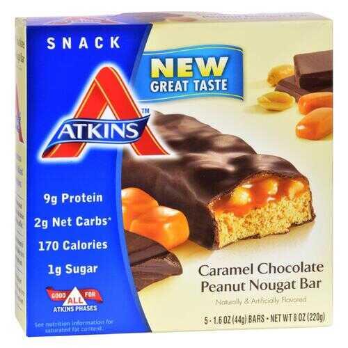 Atkins Advantage Bar Caramel Chocolate Peanut Nougat - 5 Bars