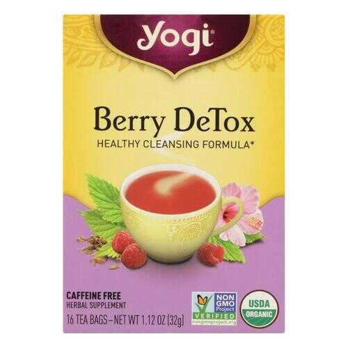 Yogi Detox Herbal Tea Caffeine Free Berry - 16 Tea Bags - Case of 6