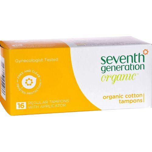 Seventh Generation Chlorine Free Organic Cotton Tampons - Regular - 16 Tampons - Case of 12