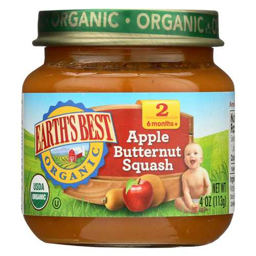 Earth's Best Organic Apple Butternut Squash Baby Food - Stage 2 - Case of 12 - 4 oz.