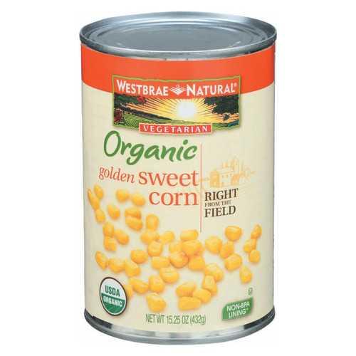 Westbrae Foods Whole Kernel Golden Corn - Case of 12 - 15.25 oz.