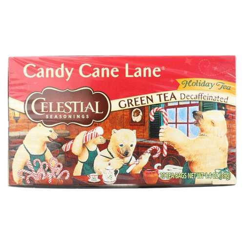 Celestial Seasonings Candy Cane Lane Decaf Green Tea - Case of 6 - 20 BAG