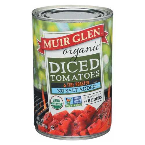 Muir Glen Diced Fire Roasted Tomato No Salt - Tomato - Case of 12 - 14.5 oz.