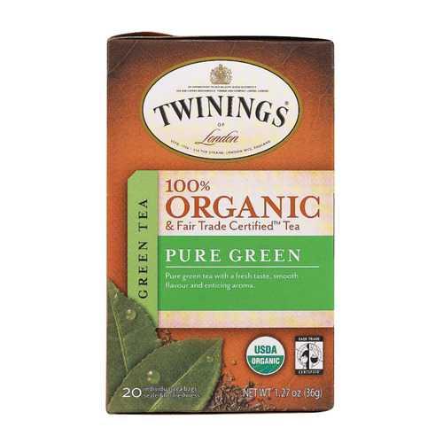 Twinings Tea - 100 Percent Organic - Green - Pure - 20 Bags - Case of 6 - 20 BAG