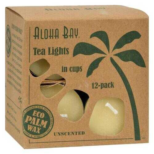 Aloha Bay - Palm Wax Tea Lights with Aluminum Holder Cream - 12 Candles