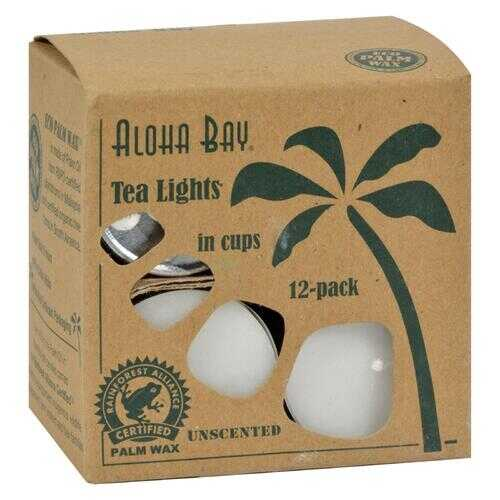 Aloha Bay - Palm Wax Tea Lights with Aluminum Holder - 12 Candles