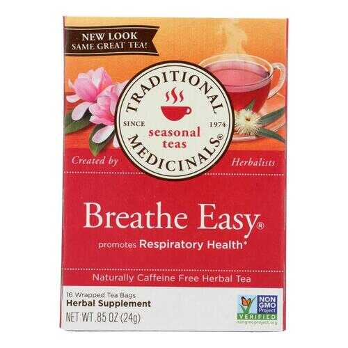 Traditional Medicinals Breathe Easy Herbal Tea - 16 Tea Bags - Case of 6