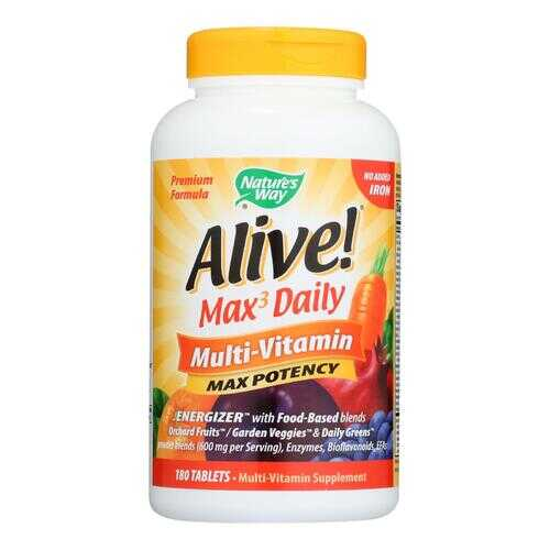 Nature's Way - Alive! Max3 Daily Multi-Vitamin - Max Potency - No Iron Added - 180 Tablets