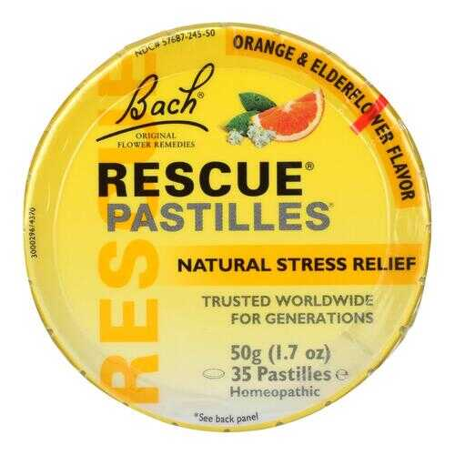 Bach Flower Remedies Rescue Remedy Pastilles Orange Elderflower - 1.7 oz - Case of 12