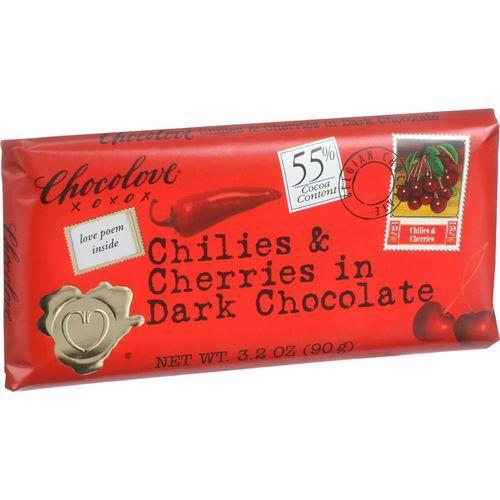 Chocolove Xoxox Premium Chocolate Bar - Dark Chocolate - Chilies and Cherries - 3.2 oz Bars - Case of 12