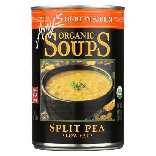 Amy's Organic Low Salt Split Pea Soup - Case of 12 - 14.1 oz
