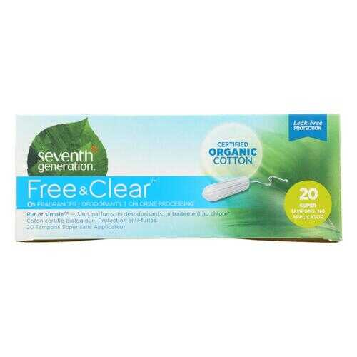 Seventh Generation Chlorine Free Organic Cotton Tampons - Super - 20 Tampons - Case of 12