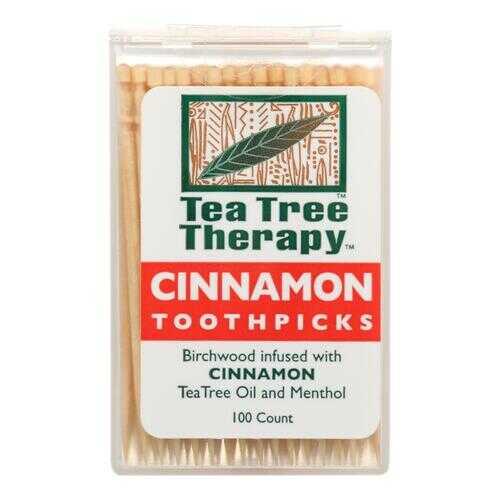 Tea Tree Therapy Toothpicks Cinnamon - 100 Toothpicks - Case of 12