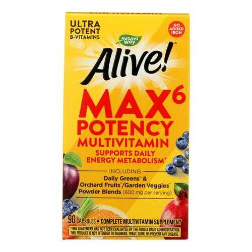 Nature's Way - Alive! Max6 Daily Multi-Vitamin - Max Potency - No Iron Added - 90 Veg Capsules